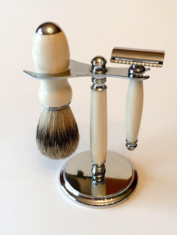 Imitation Ivory Safety Razor Shaving Kit by Shed Life