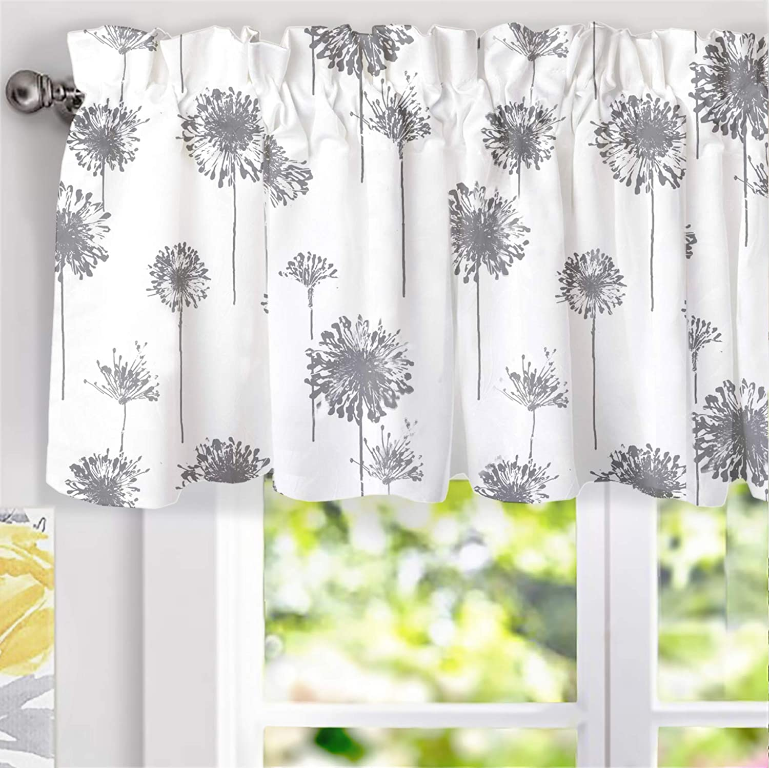 "DriftAway Dandelion Floral Flower Lined Thermal Insulated Energy Saving Window Curtain Valance for Living Room/Bedroom/ Kitchen/Kids, 2 Layer, Rod Pocket, 52""x18""+2""Header (Gray)"