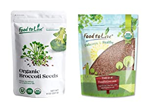 Organic Sprouting Seeds Bundle - Organic Broccoli Seeds for Sprouting, 8 Ounces and Organic Radish Seeds for Sprouting, 8 Ounces - Non-GMO, Kosher, Raw, Sproutable, Vegan