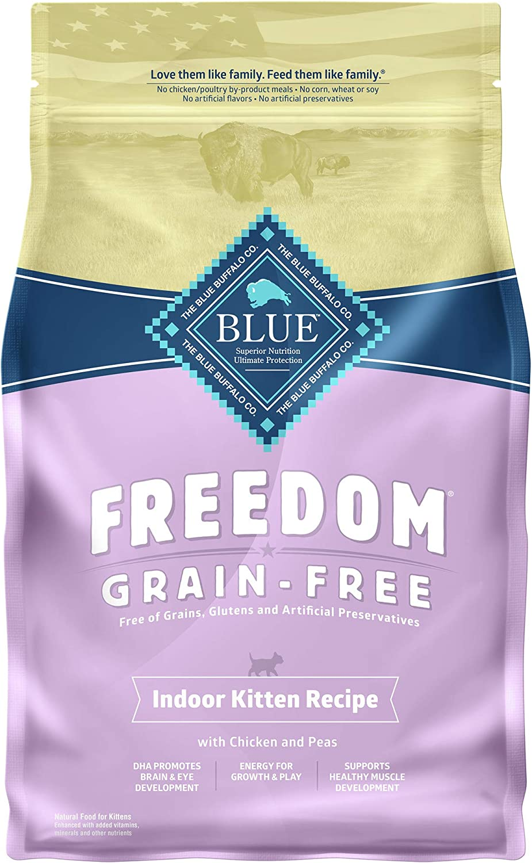 Blue Buffalo Freedom Grain Free Natural Indoor Kitten Dry Cat Food Chicken 5-lb.