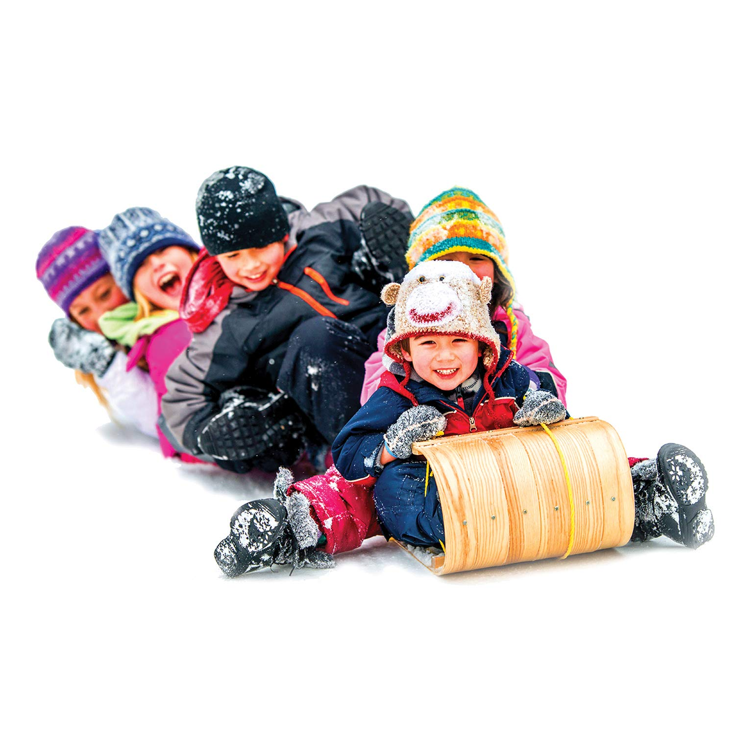 Flexible Flyer Wood Toboggan. Snow Sled Adults Kids