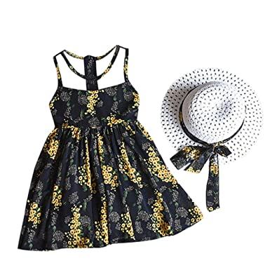 ee4d833b7 Fabal 2PCS Toddler Kids Baby Girl Outfit Clothes Chiffon Floral Vest Dress Sun  Hat Set (