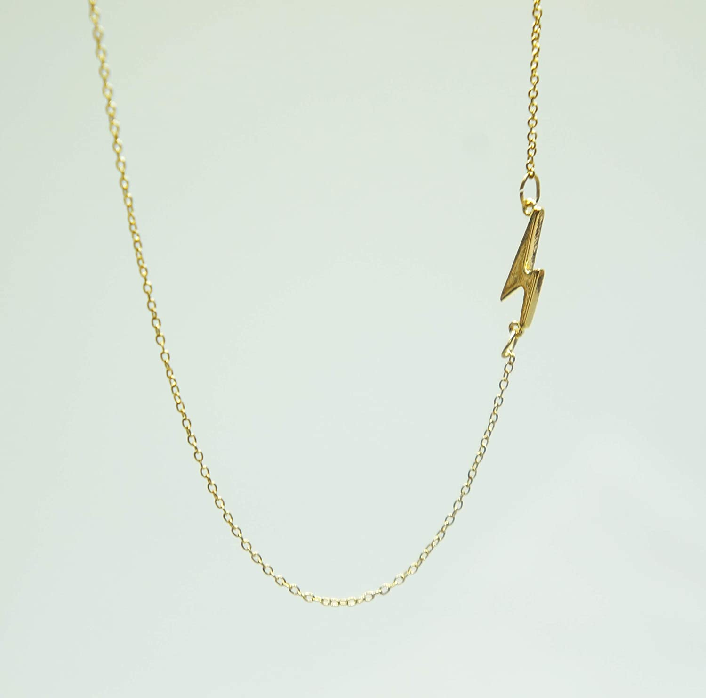 Lightning Bolt Necklace Card Set Dainty Gold Asymmetrical Necklace Courage Sentimental Gift for Her Thunderbolt Necklace