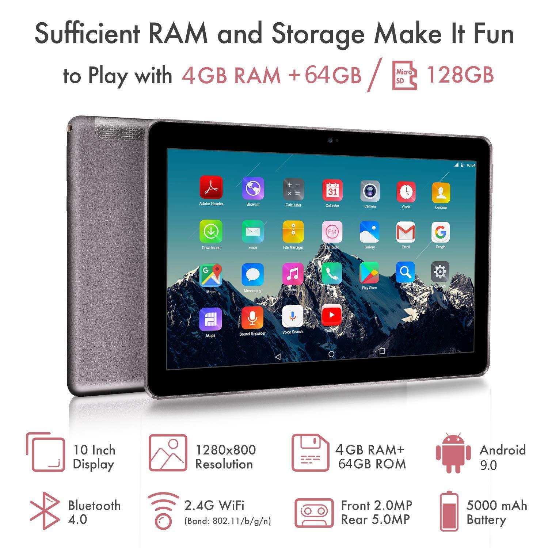 Tablet 10 Pulgadas 4G LTE Dual Sim - TOSCIDO Android 9.0 Certificado por Google GMS, Quad Core,64GM ROM,4GB RAM,Doble Altavoz ...
