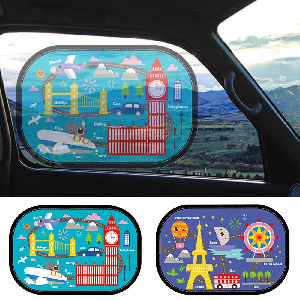 Vococal Universal Car Magnetic Sun Shades Side Window Cartoon Curtain Car Seat Sun Protection Sunshades for Baby Children Kids