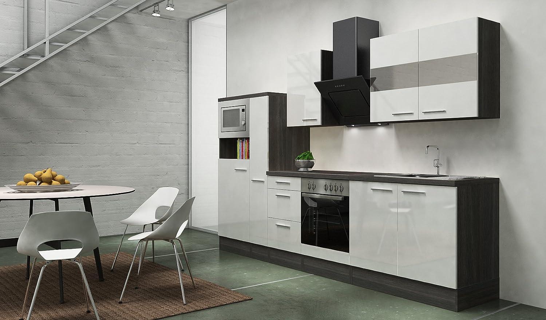 respekta Premium Instalación de Cocina Cocina 300 cm Gris de Roble Botiquín de Color Blanco Brillante vitrocerámica: Amazon.es: Hogar
