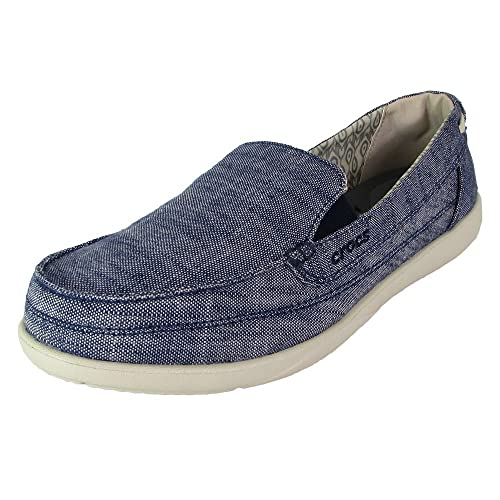 6ab4095b96a crocs Womens Walu Chambray Loafer Slip On Shoes