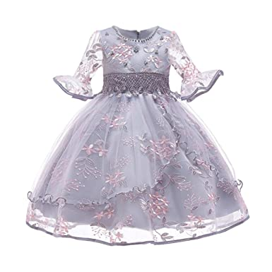 754acb6b3932 Amazon.com  KONFA Teen Toddler Baby Girls Floral Gauze Dresses ...
