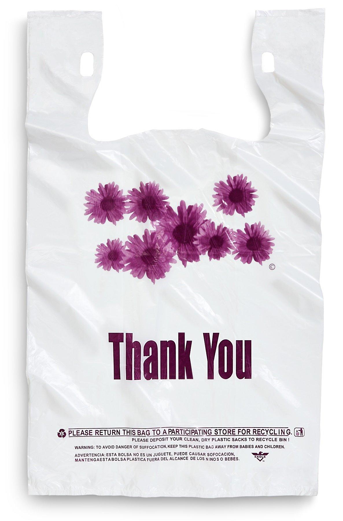 Purple Flower Thank You Plastic Shopping Bags - 500 pcs/case by Focus