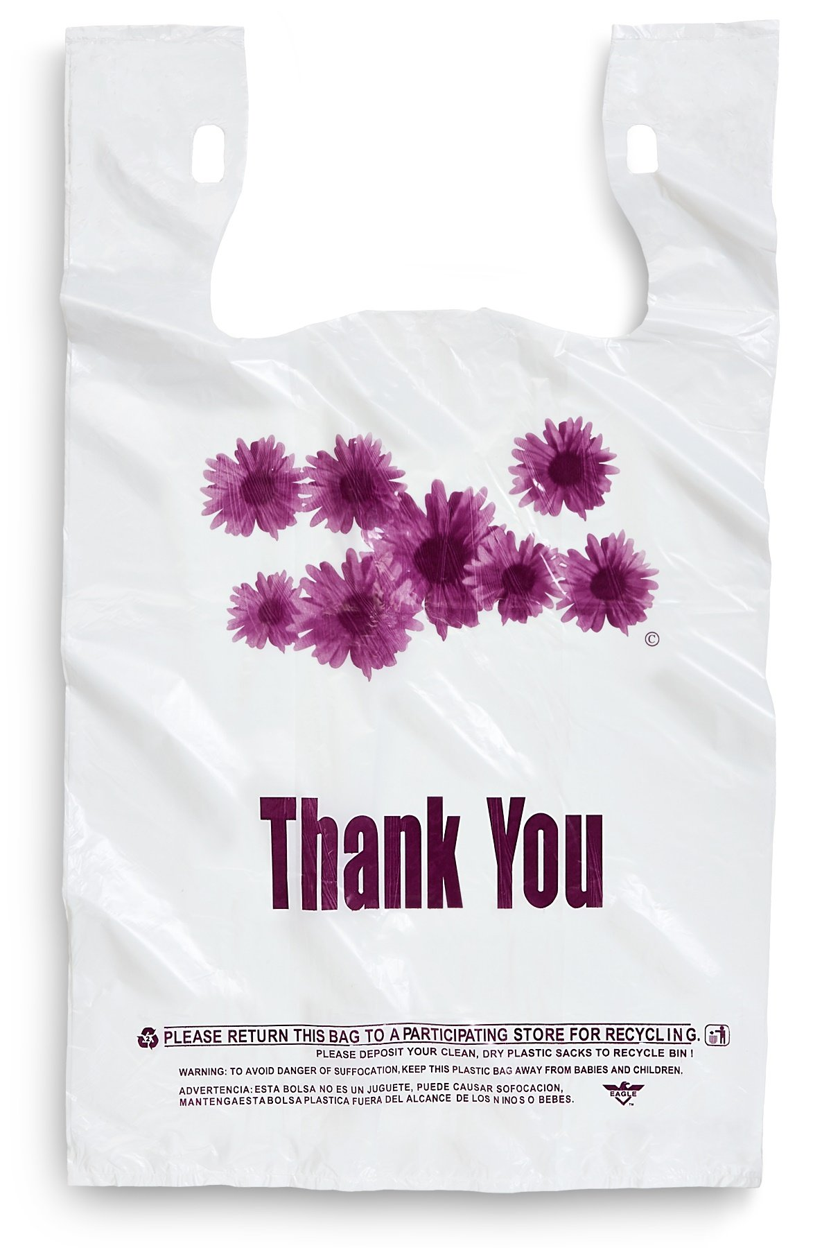 Purple Flower Thank You Plastic Shopping Bags - 500 pcs/case
