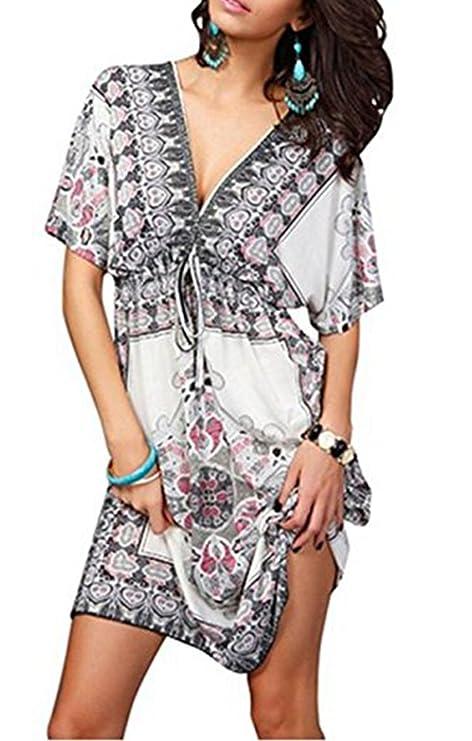Jastore®Floral tief V-Ausschnitt Boho Damen Strandponcho Sommer Kleid Überwurf Kaftan Strandkleid Bikini Tunika Cover Up