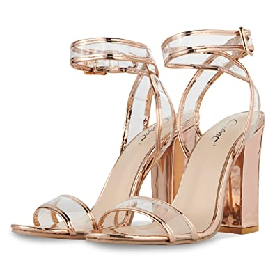 3a11720188202e JSUN7 Women s Shiny Sandals with Clear Ankle Strap Sexy Open Toe Summer  Shoes Strappy High Chunky