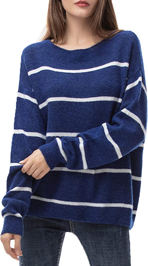 Jersey Mujer Punto Camiseta Manga Larga Sueter Invierno Jersey Rayas Basico Suelto Jerseys Camisa Tops Pull-Over Suéter Mujer Primavera Otoño Azul