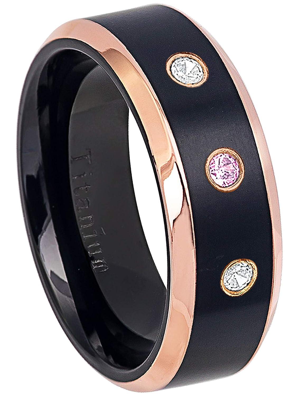 8MM Black Ion Plated /& Rose Gold Plated Beveled Edge Comfort Fit Titanium Wedding Band 0.21ctw Pink Tourmaline /& Diamond 3-Stone Titanium Ring