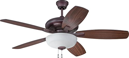 Craftmade FZA52OB5C1 Protruding Mount, 5 Oiled Bronze Walnut Blades Ceiling fan with 65 watts light, Oiled Bronze Gilded