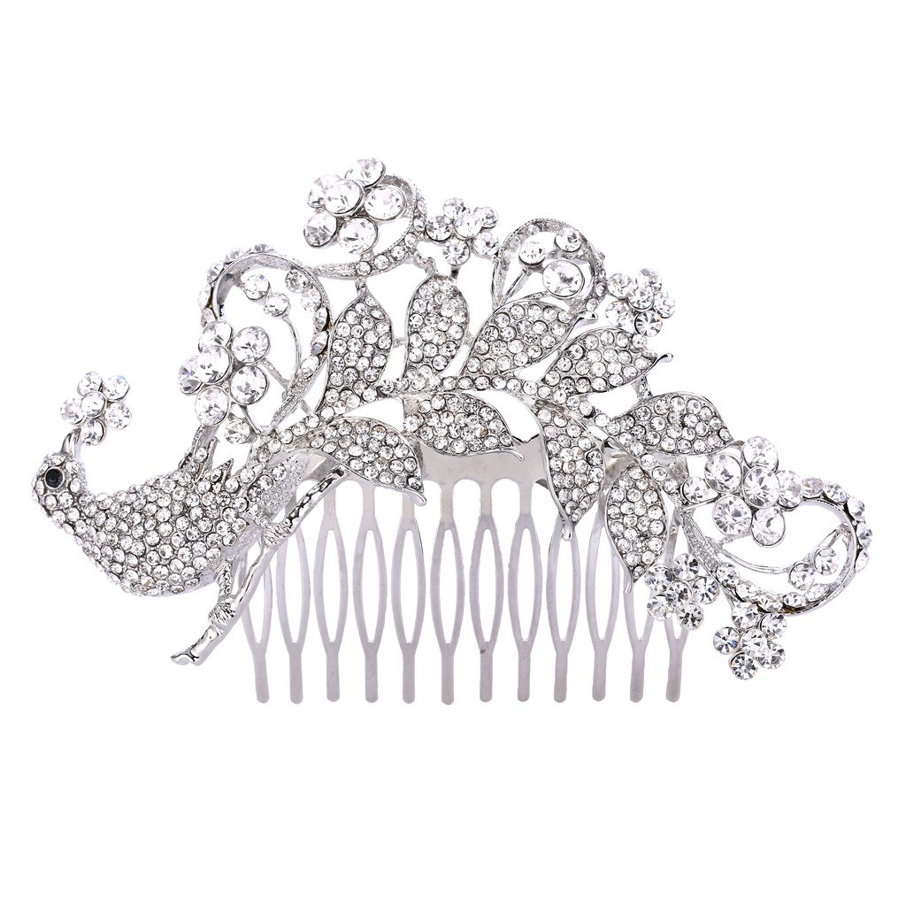 EVER FAITH Women's Austrian Crystal Elegant Bridal Peacock Flower Hair Comb Clear Silver-Tone