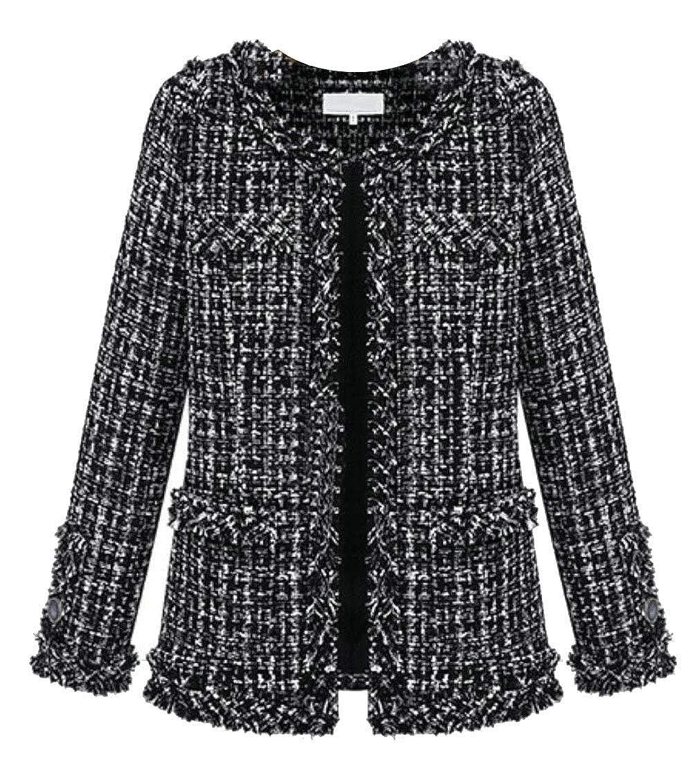 heymoney Women Gorgeous Tweed Jacket Slim Fit Round Neck Coat