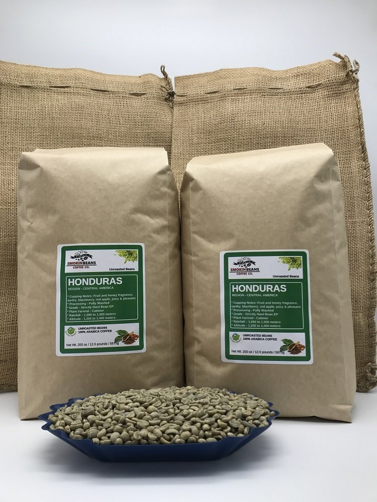 25 LBS – HONDURAS SAN ANTONIO (includes 2 FREE BURLAP BAGS) Specialty-Grade, CURRENT-CROP Green Unroasted Coffee Beans – 100% Organic, Arabica Shade-Grown, Hand-Picked, Process: Washed & Sundried