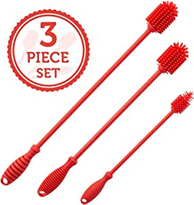 Silicone Bottle Brush Cleaner Set of 3 - Long Handle Bottle Cleaning Brushes Ideal for Narrow Neck Containers, Water Bottles, Thermos, Hydro Flasks, Coffee Mugs, Tumbler Bottles, Baby Bottles (Red)