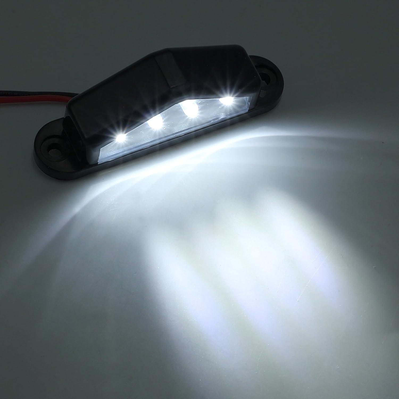 E-mark Justech 2 x Luci Targa 4 LED Fanale Posteriori/LED Universale 12V 24V per Auto Veicolo Rimorchio Camion Caravan Roulotte UTE Van