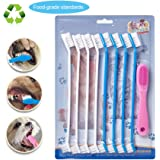 Dog toothbrush,silicone finger toothbrushes set,for small to large dogs, cats,(8+1pcs,Color Vary)