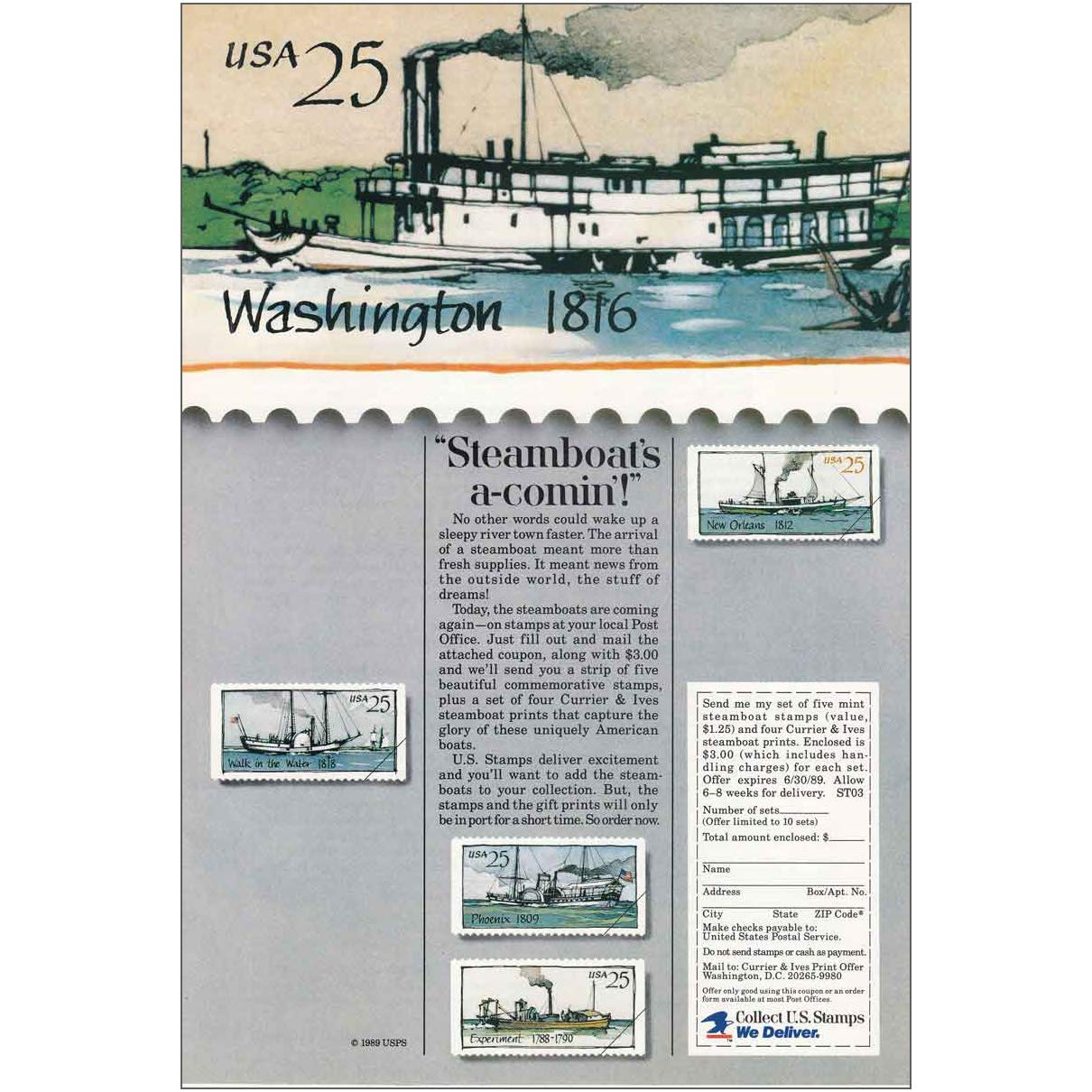 Amazon Com Relicpaper 1989 Us Postal Service Steamboats A