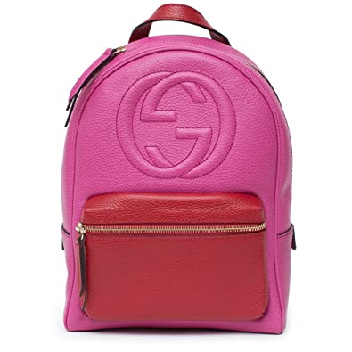 Gucci Soho Backpack Bag Leather Pink Rosette Hibiscus Red Shoulder Italy New 1e45b88ce35c3