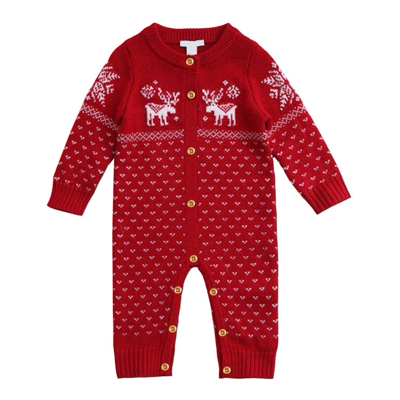 Funnycokid Unisex Newborn Baby Romper Long Sleeve Deer Pattern Christmas Sweaters Coat Knitted Sweatshirt Jumper Suit Red