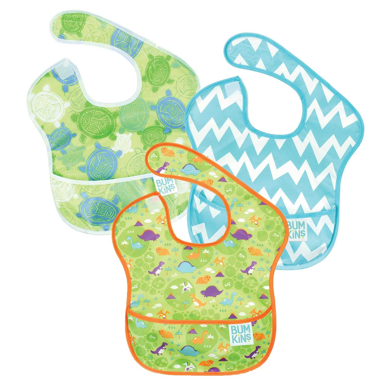 Bumkins Waterproof SuperBib 3 Pack, Boy (B09-Turtle/Dino/Blue Chevron) (6-24 Months)