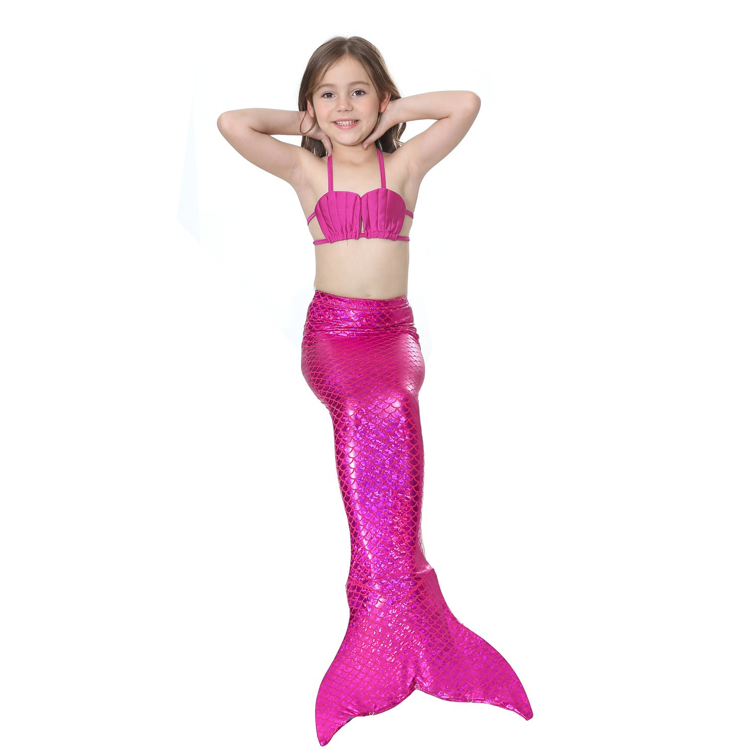 Mermaid Tails for Swimming,with Monofin,Children Mermaid Clothing Cosplay,Swimmable Tail Swimsuit 4PCS Sets