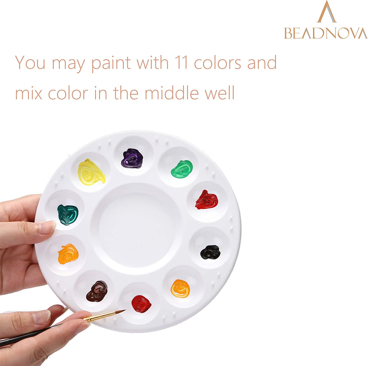 3 pcs, Acrylic Paint, Oil Paint, Cupcake Decorating BEADNVOA Round Paint Tray Palette Paint Pallet Model Paint Tray for Kids Artists Painters Cupcake Tray for Party