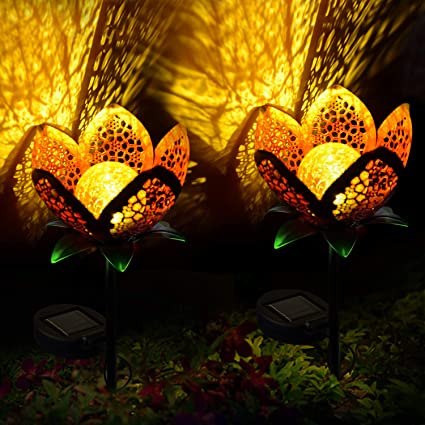 Garden Solar Lights Outdoors, 2pack Pathway Hollow Flower Stake Lights  Waterproof Landscape Led Decorative Light