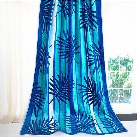 YAN Toalla de Playa con Rayas de algodón con Franjas Azules y Blancas con Flecos teñidas