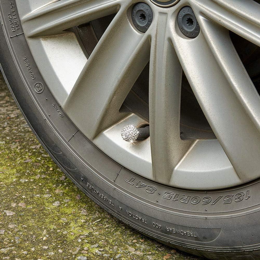 ATMOMO Colorful Handmade Rhinestone Tire Valve Caps Wheel Valve Covers Universal Tire Valve Dust Caps 4 Pcs