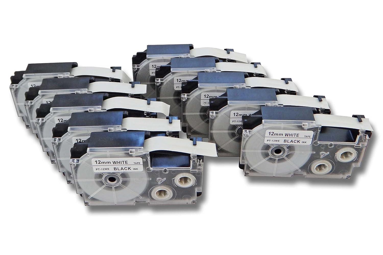 Lot de 5 cassettes à ruban vhbw 12mm pour Casio CW-L300, KL-100E, KL-120, KL-1500, KL-200E, KL-300. remplace: Casio XR-12WE1, XR-12WE. VHBW4251156509138