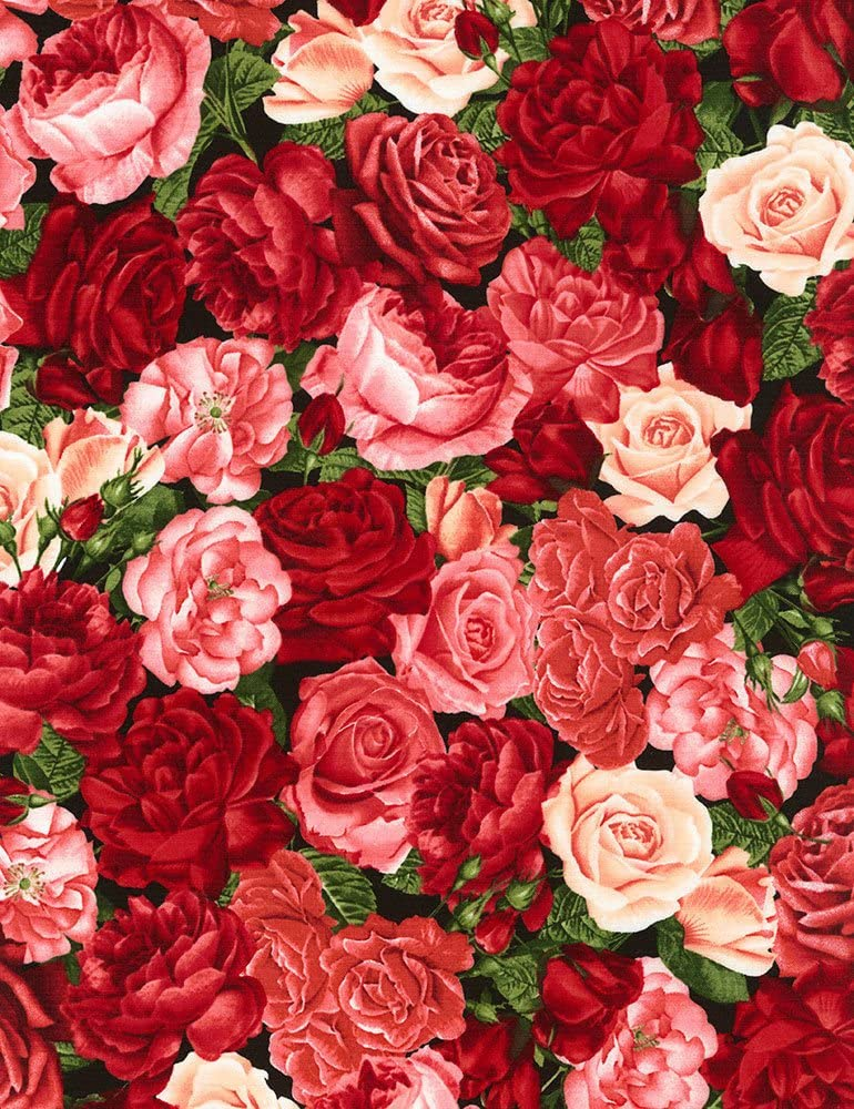 Packed Roses - Rose Garden Timeless Treasures Cotton Fabric