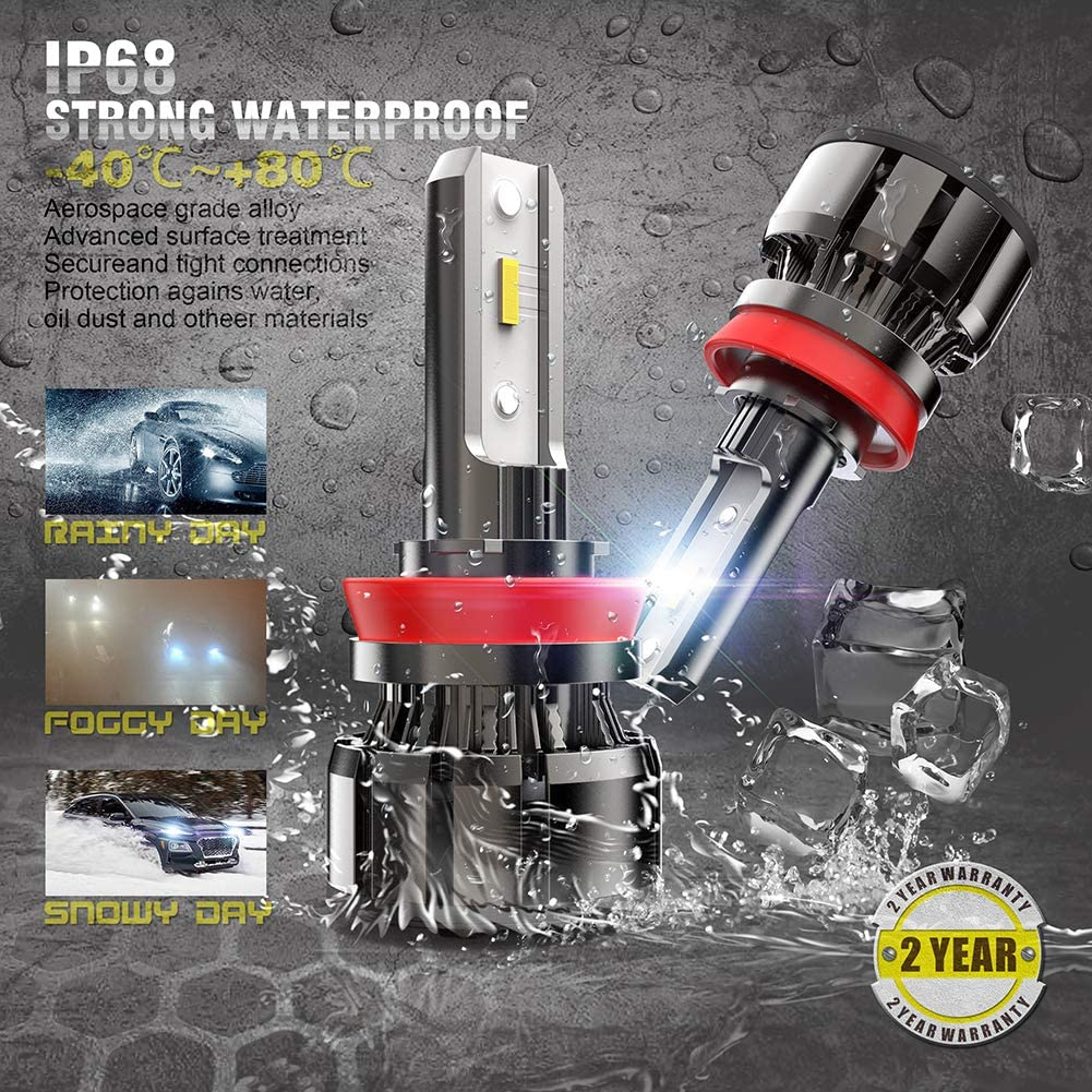 CAR ROVER 9005//HB3 High Beam H11//H9 Low Beam LED Headlight Bulbs Combo Package CSP Chips 6000K Xenon White