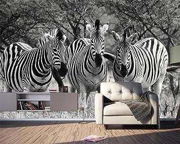 Shah Custom 3d Papier Peint Noir Et Blanc Zebra Fresque Animaux