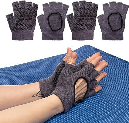 Zenzation (3 Pairs Yoga Gloves for Women Non Slip Grip for Pilates Fitness Fingerless Breathable