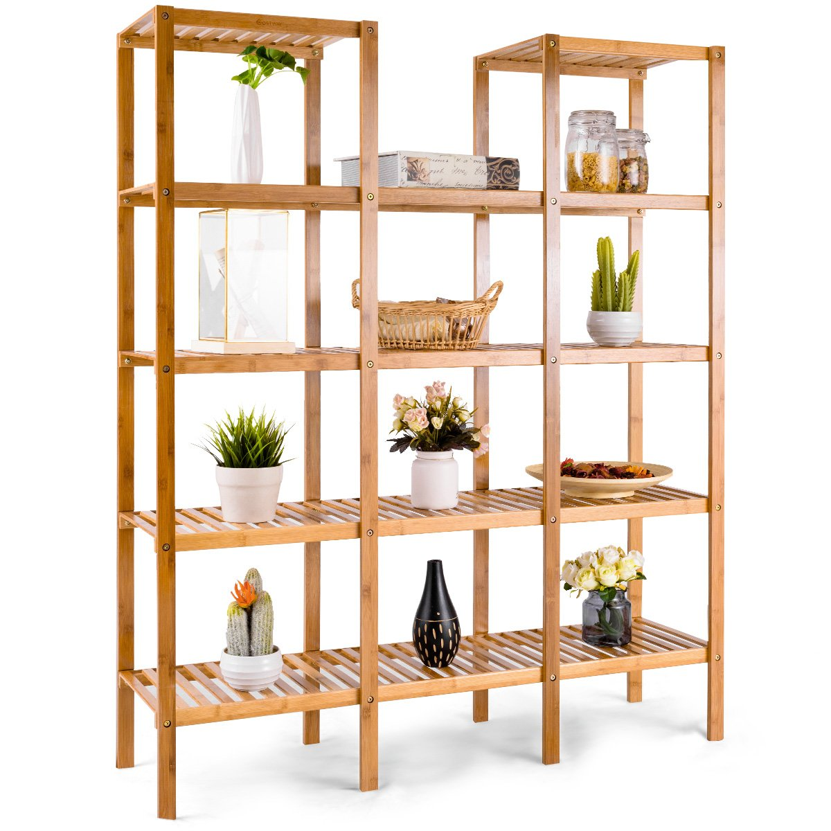 COSTWAY Bamboo Utility Shelf Bathroom Rack Plant Display Stand 5-Tier Storage Organizer Rack Cube W/Several Cell Closet Storage Cabinet (12-Pots) by COSTWAY