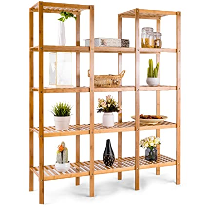 ecdb761009f Image Unavailable. Image not available for. Color  COSTWAY Bamboo Utility  Shelf Bathroom Rack Plant Display Stand 5-Tier Storage Organizer ...