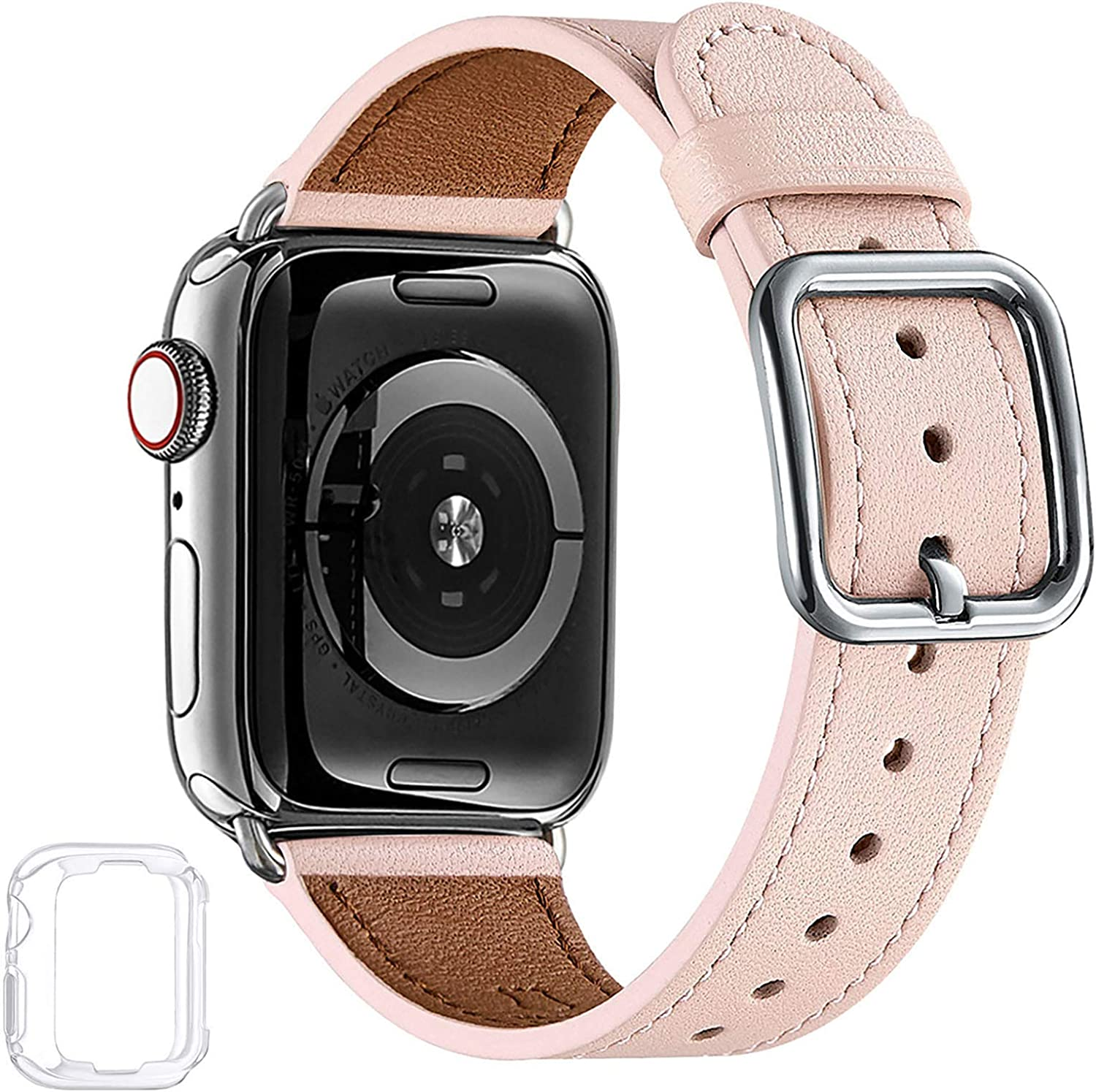 MNBVCXZ Compatible with Apple Watch Band 38mm 40mm 42mm 44mm Women Men Girls Boys Genuine Leather Replacement Strap for iWatch Series 6 5 4 3 2 1 iWatch SE (Pink Sand/Silver, 38mm 40mm)