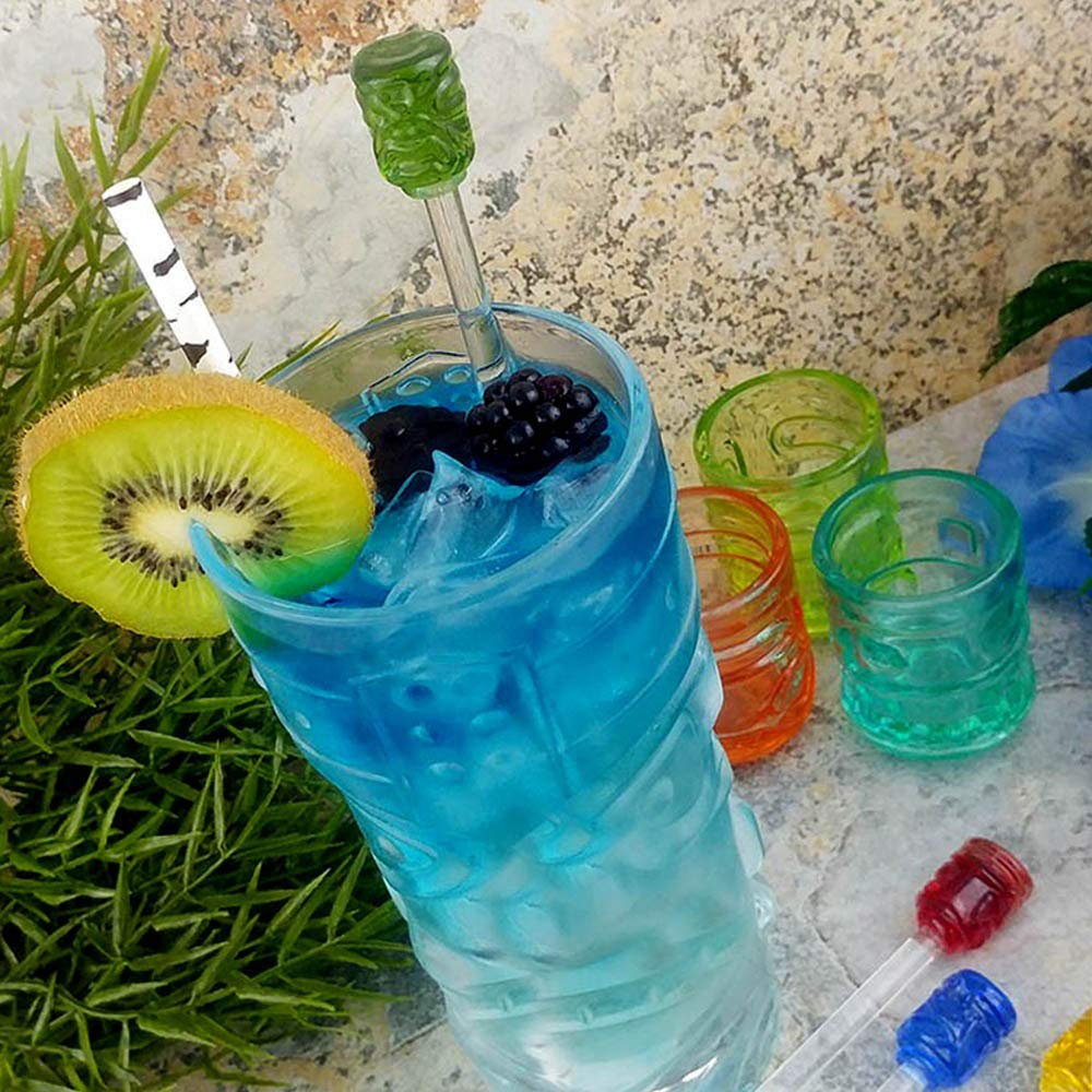Set of 4 Tiki Glass Drink Stirrers