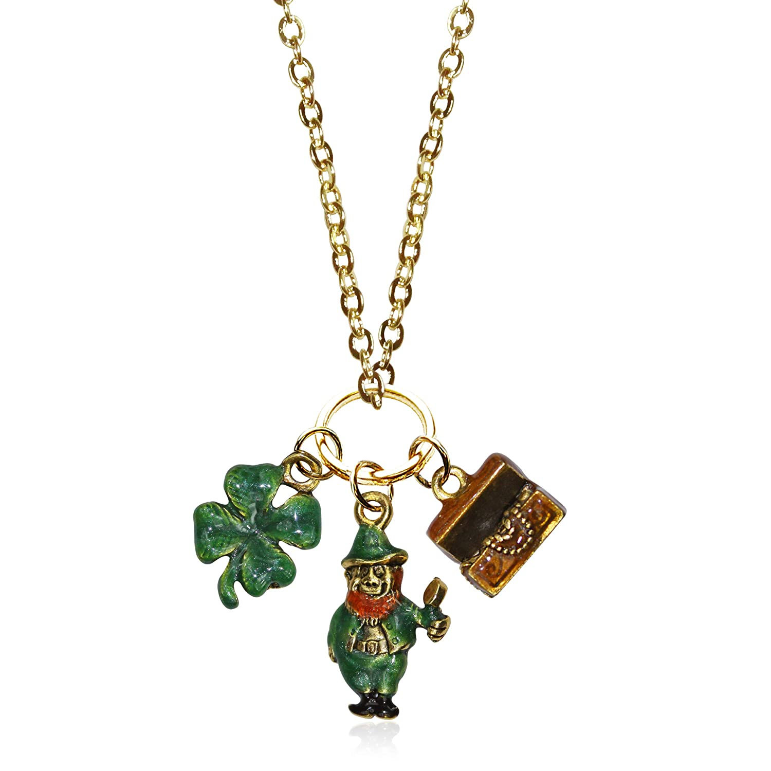 Whimsical Gifts St Patricks Day Charm Necklace in Gold