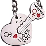 Set of 2 His & Hers 'Love' Silver Metal Keyrings by GC - Wedding Gift, Anniversary, Valentines etc