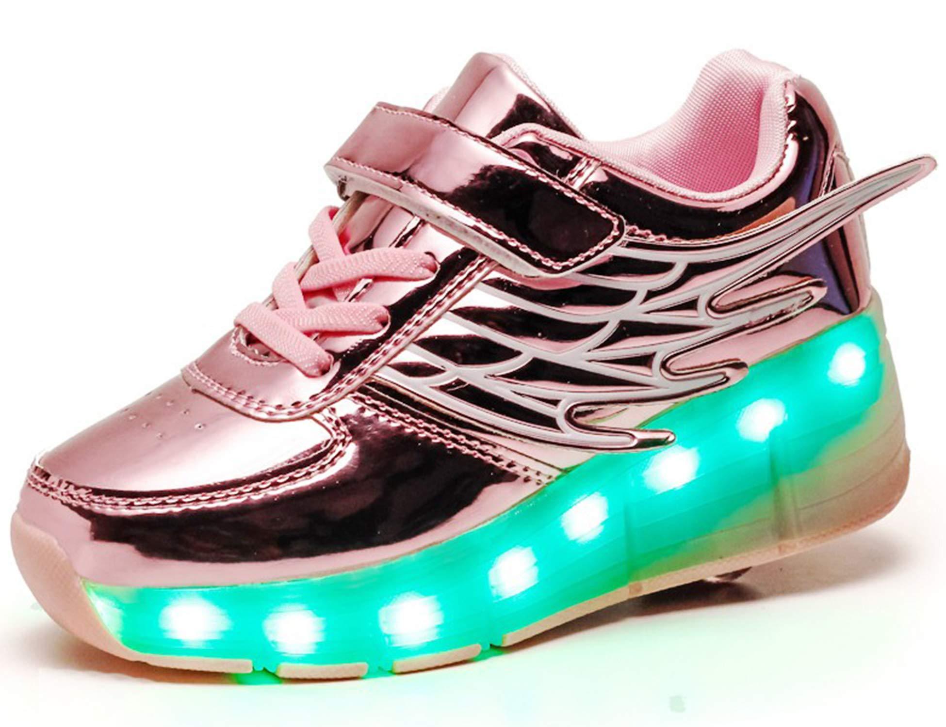 TR&GA Unisex Kids Led Light Wheels Flashing Roller Skates Shoes Inline Single Skate Trainer Gym Sport Shoes