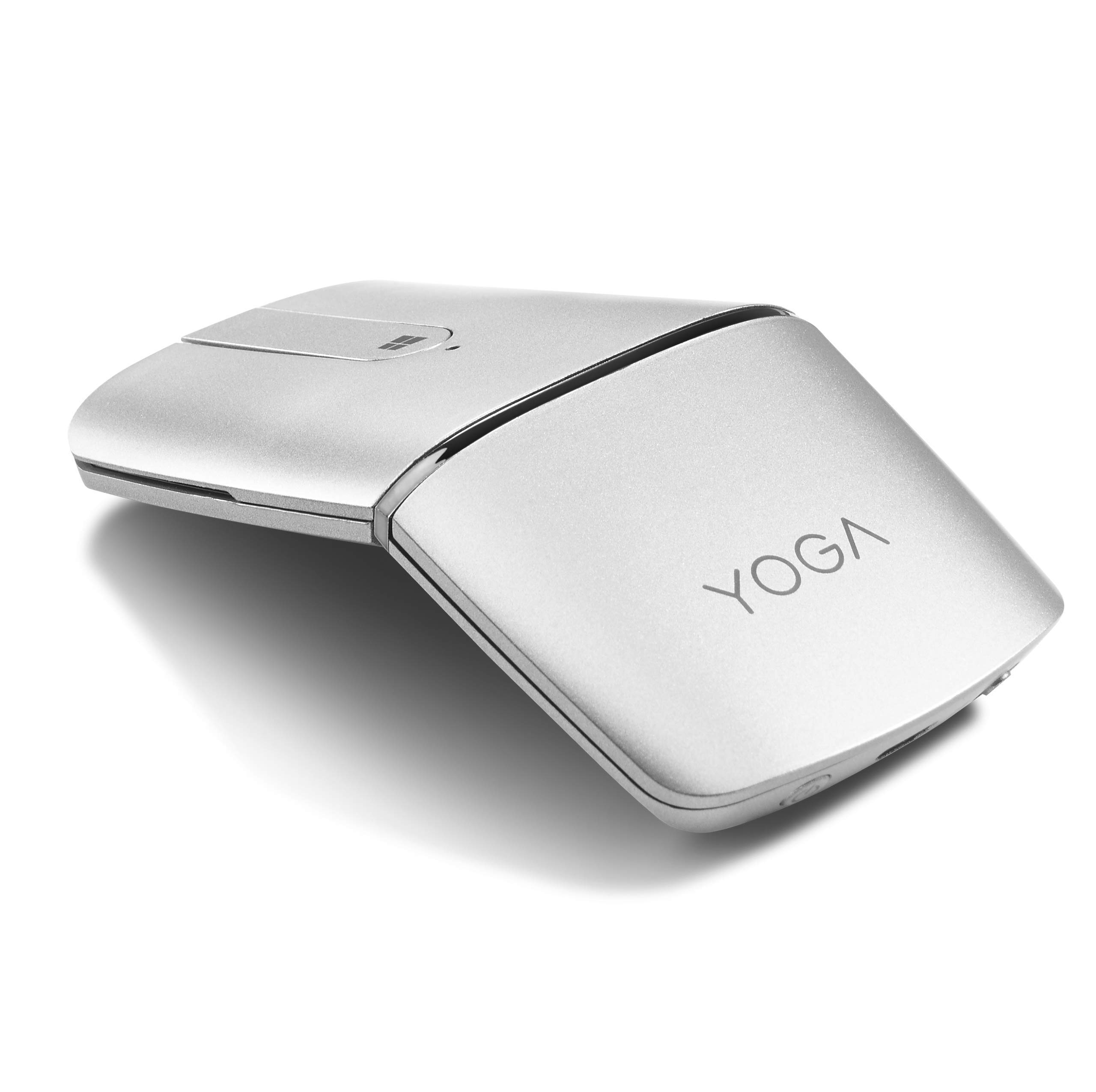 Lenovo Yoga Mouse, Silver, Ultra Slim 13.5mm, 180 Degree rotatable Hinge, 2.4G or Bluetooth 4.0 Wireless Connection, Multilayer Adaptive touchpad, Rechargeable Battery, GX30K69568 by Lenovo