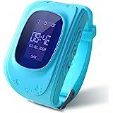 Smart Watch, HALOFUN Q50 Wrist Watch with Anti-lost GPS Tracker SOS Call Location Finder SIM Card Slot Remote Monitor Pedometer Smart Watch for Kids (Blue)