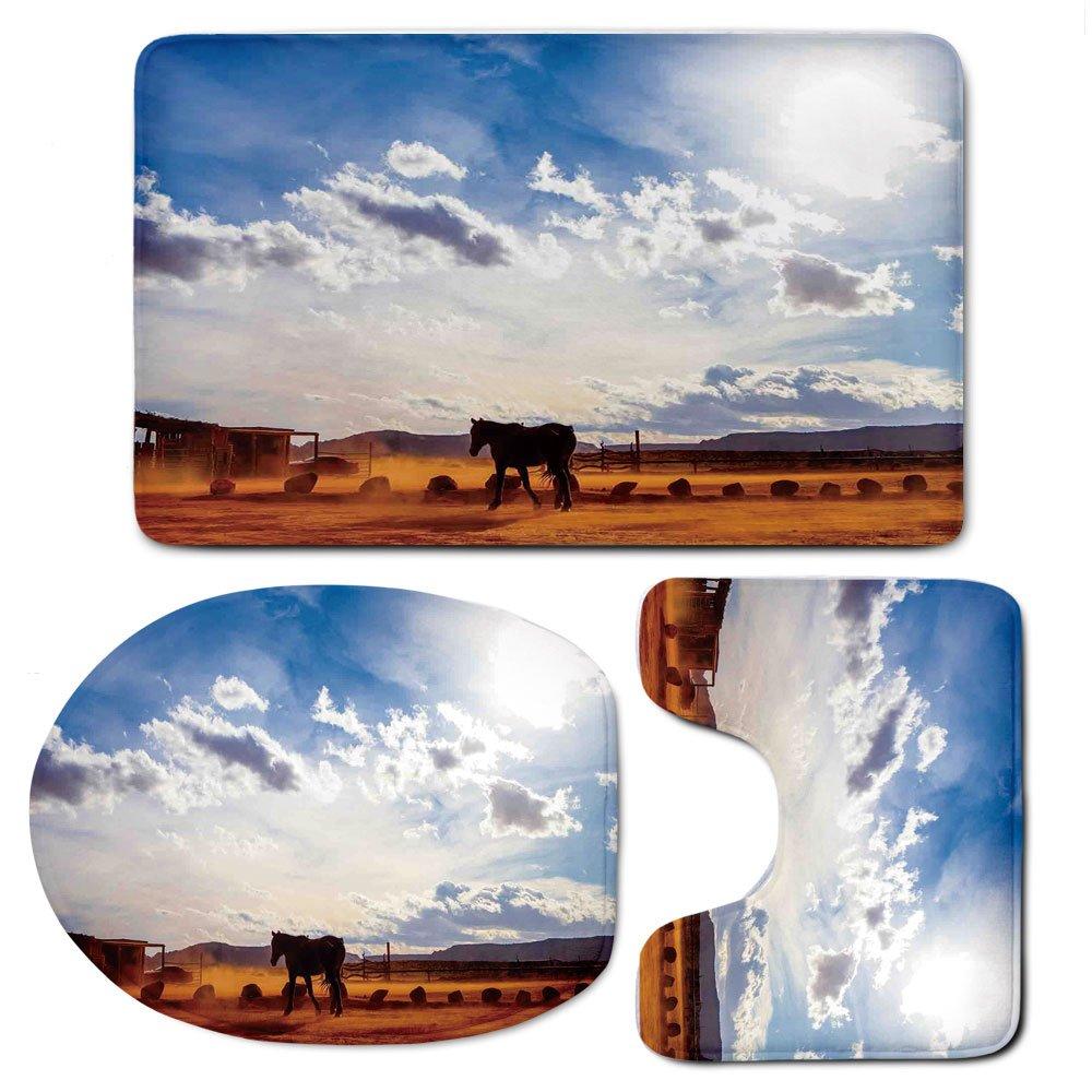 3 Piece Bath Mat Rug Set,Western-Decor,Bathroom Non-Slip Floor Mat,Horse-in-Monument-Valley-Open-Sky-with-Clouds-in-Arizona-America-Landscape,Pedestal Rug + Lid Toilet Cover + Bath Mat,Cream-Blue