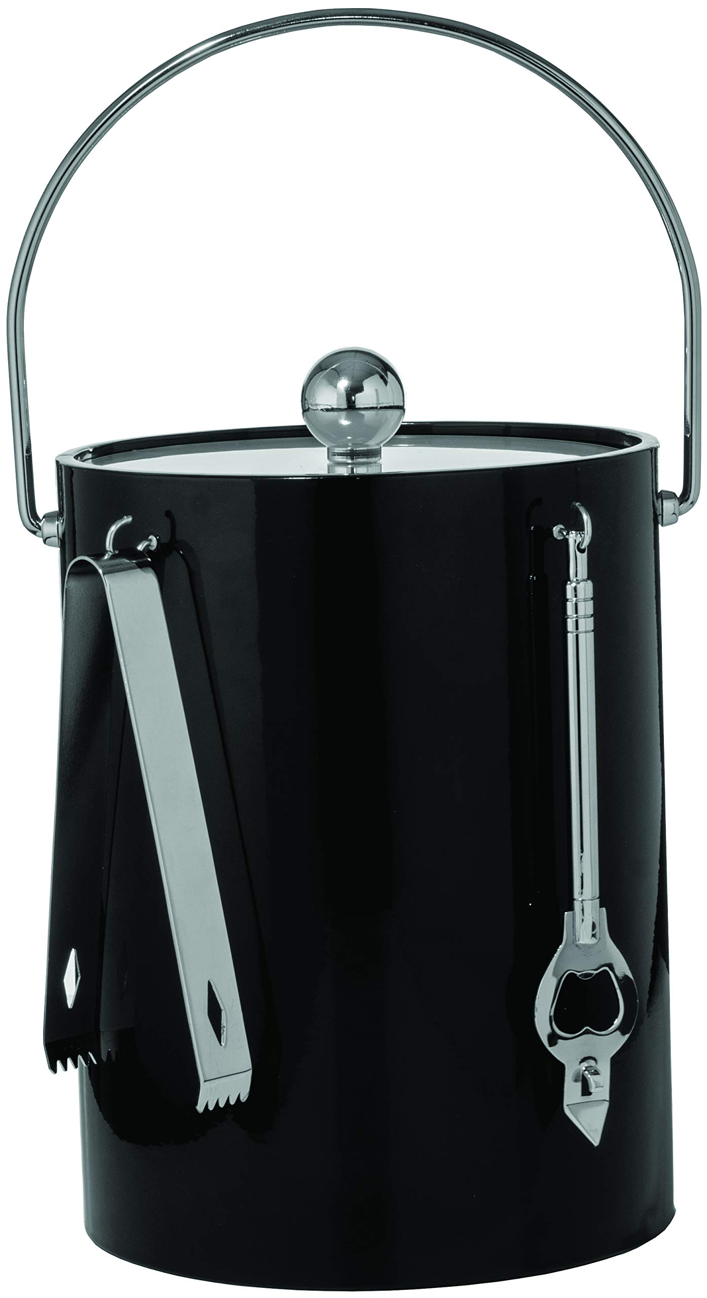 Hand Made In USA Black Double Walled 5-Quart Insulated Ice Bucket With Ice Tongs & Bottle Opener